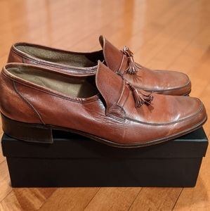 Bally Cognac Leather Loafers Slip ones Tassels